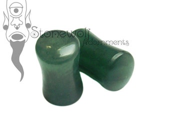 Dark Green Aventurine Stone Plugs 6mm (2G) for Stretched Ears Piercings Handmade - Ready to Ship