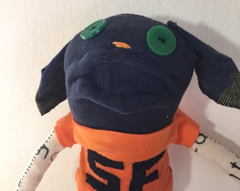 San Francisco Giants Unique Sock Animal Puppy, Baseball Player, Rag Doll, Made with all Reclaimed Clothing, Hand-stitched,OOAK, Plush Toy