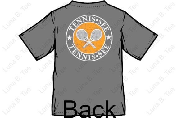 Tennis.see® Tennis Tennessee Tshirt Tee Shirt Mens Womens Unisex Heather Gray Orange