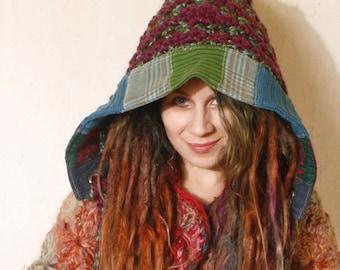 Hooded hat Knit Purple crochet hat Ear flap hat Crochet hood Winter accessories Pixie hat Winter hat Crocheted hood Purple hood Woman gift