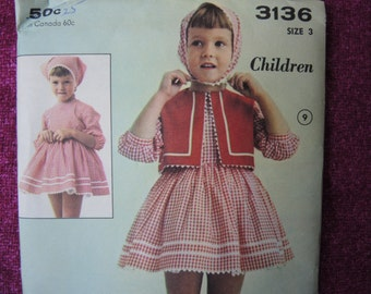 vintage 1960s Advance sewing pattern 3136 girls size 3 UNCUT dress with weskit and scarf