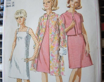 vintage 1960s simplicity sewing pattern 7081 one piece dress coat and jacket  uncut size 14