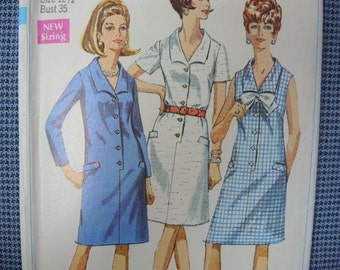 vintage 1960s Simplicity sewing pattern 7449 misses step in dress size 12 1/2
