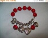 50% OFF heart bracelet Vintage bracelet, red and silvertone beaded heart charm bracelet