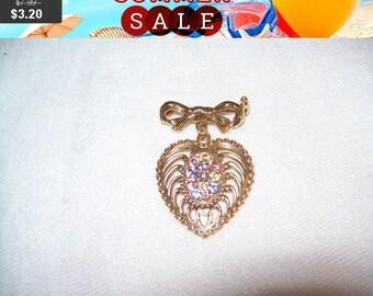 SALE 60% Off Vintage rhinestone heart brooch, Vintage goldtone brooch, fashion brooch