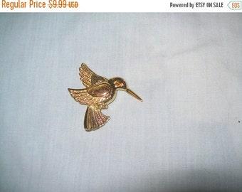 50% OFF SHOP SALE vintage rhinestone brooch, goldtone hummingbird brooch, rhinestone hummingbird pin