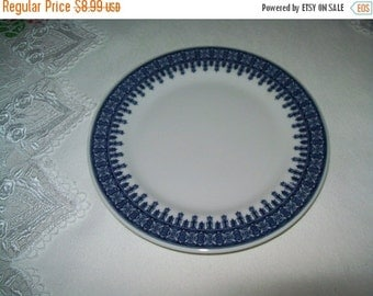 SALE 50% Off Shenango Blue and white geometric pattern plate, Hotel Restaurant ware, 6.5 inch plate