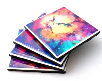 resin tile coasters- set of 4, galaxy coasters, cosmic coasters, space coasters, resin coasters, galaxy, cosmic, space, resin coasters