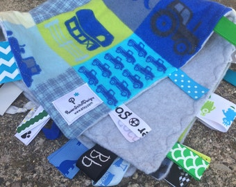 Tractors, trucks, farm Tag&Tow sensory ribbon blankie, Lovie. Ready to ship.