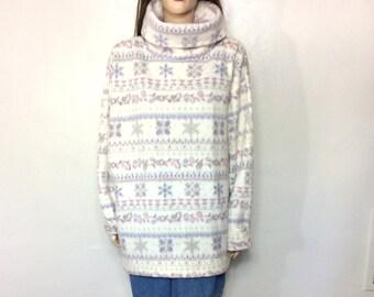 90's Fleece Sweater Large Fleece Jacket Large Pastel Fleece Sweatshirt Boho Jacket Cowl Neck Hippie Sweater Tribal Sweater Slouchy Sweater D