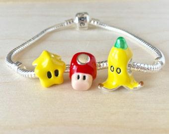 Set of 3 Super Mario Bros Kart Charms for Bracelet