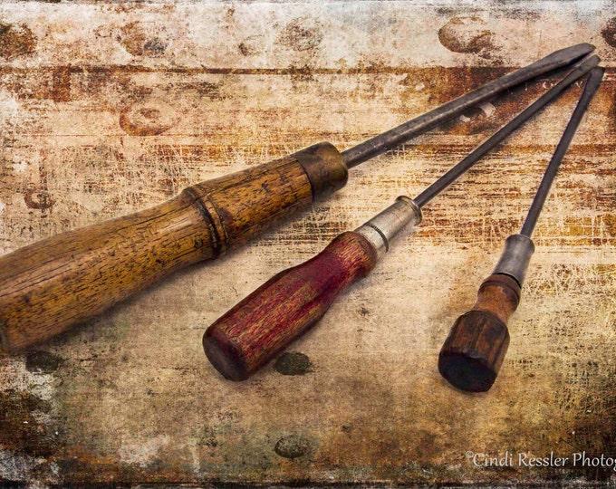Vintage Screwdrivers, Photography, Vintage Tools, Screwdrivers, Antique Tools, Still Life Photography