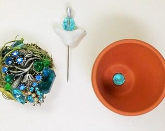 Aqua Vintage Gemmed Floral Arrangement with Secret Coin Stash Compartment.