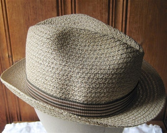 """Men's Straw Hat with Striped Band - Vintage Spring / Summer Sun Hat by Stevens - Breathable Straw Fedora / Trilby - 22"""" Band Med to Large"""