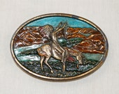 Vintage Native American belt buckle…Indian on horseback…Indian belt buckle...1977 Bergamot Brass Works.