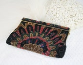 ON SALE 10% OFF Black Gold Beaded Evening Bag Handbag Purse Vintage Green Red Bead Social Affair Special Occasion Evening Out Party Purse