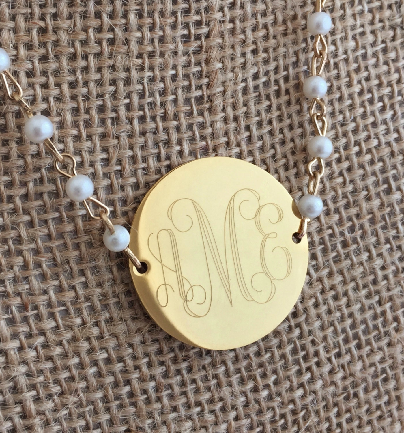 statement large monogram gold and pearl necklace personalized