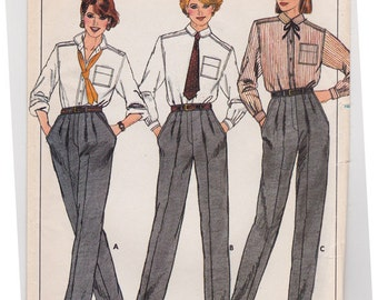 FF 90s Women's Slacks Proportioned Pants Vintage Sewing Pattern - Butterick 6879 - Size 12 14 16, UNCUT