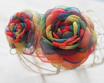 Hippie Hair Accessory, Hippie Hair Clip, Huge Rainbow Hair Flower, Rainbow Hair Clip, Multicolored Flower Brooch Prom