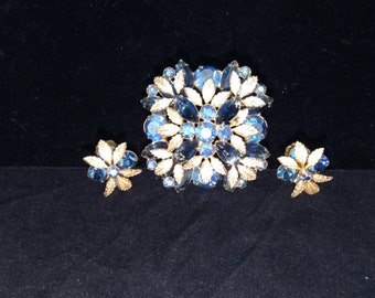 Unsigned Brooch and Clip Earrings, Gold Tone, Blue Rhinestones, Flower Pattern