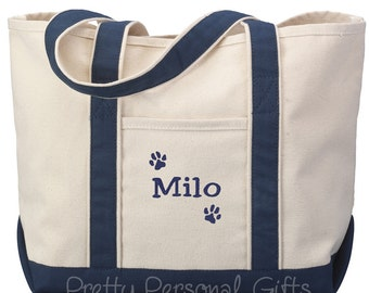Personalized Dog Paw Print Tote Bag with name  -  pet owner gift