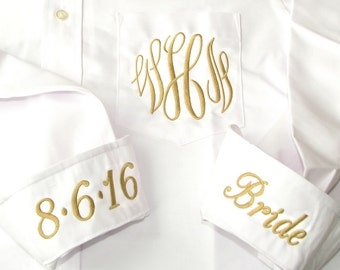 Bride Shirt with Gold Monogram