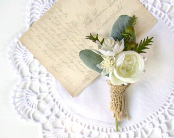 White Rustic, Wedding Boutonniere, Woodland, Lapel Pin, White Wedding Flowers, Wildflower, Groom, Wedding Ceremony, Vintage Wedding