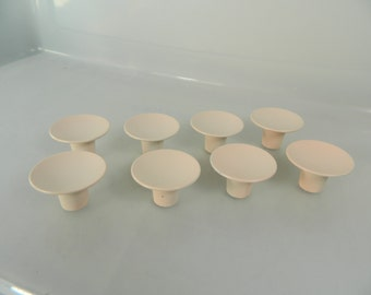 Vintage Pink Metal Drawer Knobs Dresser Pulls Set of 8 Pale Pink Mid Century Knobs
