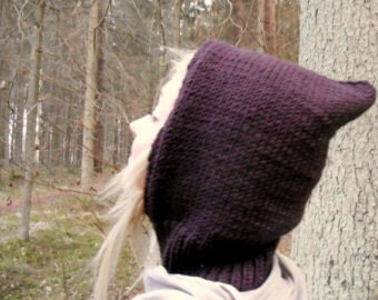 Fairy Hoodie hat, pixie hat, knitted hat, chocolate brown knitted hoodie hat
