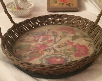 Antique basket with barkcloth under glass