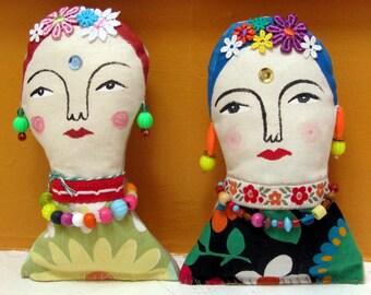 Hanging Frida Inspired Folk Dolls