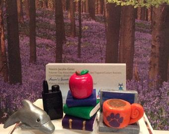 Polymer clay business Desktop business card holder,handmade,school,counseling,ASCA,teacher,custom,whimsical,school counselor,business,fun