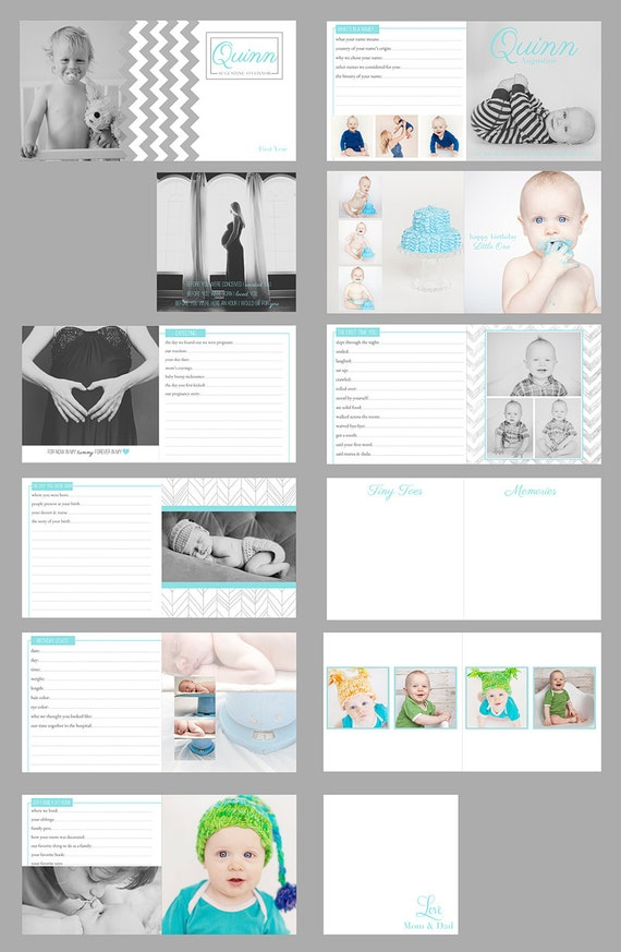 items similar to baby 39 s first year album digital file for photoshop quinn album template on etsy. Black Bedroom Furniture Sets. Home Design Ideas