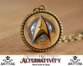 Star trek necklace, Star trek emblem, steampunk necklace, steampunk star trek, steampunk (1)