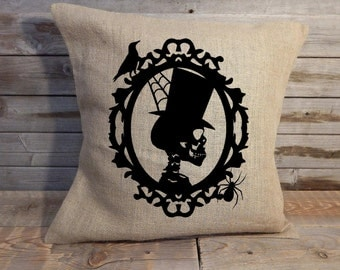 Skeleton Halloween burlap pillow cover