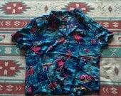Vintage Hawaiian Print Aloha Fish Button Up Shirt