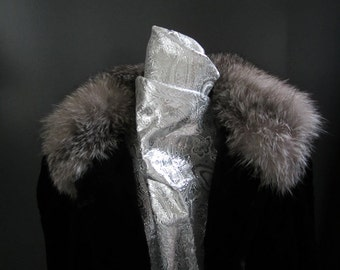 Vintage Rabbit Fur Coat with Fox Collar and Cuffs