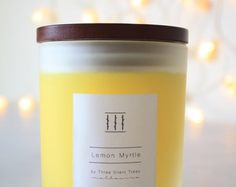 Three Silent Trees | Lemon myrtle soy candle | large frosted tumbler