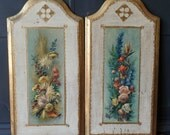 Vintage Florentine Wall Plaques Hangings, Gold Leaf, Floral, Rectangular, Arched, Home Decor, Made in Italy