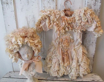 Ornate antique girls dress w/ bonnet shabby cottage chic Victorian elaborate clothing wall hanging rare collectible anita spero design
