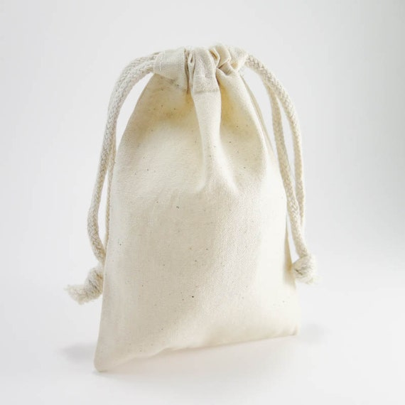 Muslin Bags | 10 Medium Cotton Muslin Bags Pouches (4 by 6 inch) for Jewelry, Gift Bag | Unbleached Muslin Favor Bags