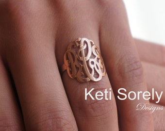 10K, 14K or 18K Solid Gold Handmade Monogram Initials Ring (Order Any Initials) -Yellow, Rose or White Gold - Script Initials