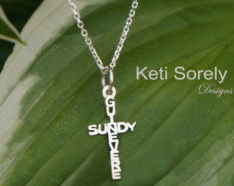 Cross Necklace with Names - Crossing Names in Solid Gold or Sterling Silver - Personalized Cross Pendant - Couples Names Necklace