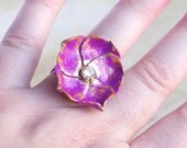 Purple Rose Ring Flower Cocktail Ring Antique Bronze Lace Filigree Ring Adjustable Ring Faux diamond Rhinestone Romance Jewellery