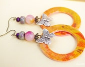 circle dangle earrings, colourful large hoops, colorful Butterfly earrings, multicolor, jade, polymer clay, multicolour jewelry, butterflies