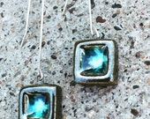 Ocean blue and sterling silver dangle earrings- reserved for Veronika