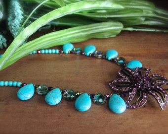 Turquoise and Crystal Necklace, Western Jewelry, Cowgirl Jewelry, Turquoise and Purple Jewelry *VIOLETDAE*