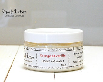 Orange-Vanilla body butter, Handmade and 100% natural, 100 gr