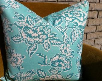 Outdoor aqua floral and birds pillow  Cover, Throw Pillow Decorator Pillow aqua 18 x 18
