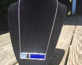 Stained Glass Bar Necklace With Sterling Silver Chain